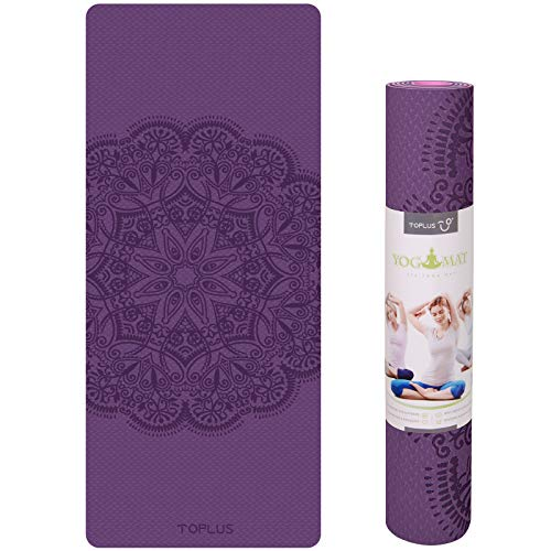 Thick Yoga Mat Non Slip, TPE Premium Exercise & Fitness Mat with Carrying Strap,Workout Mats for Home, Yoga, Pilates and Fitness