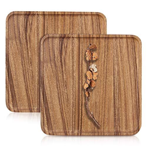 12 Inch Best Square Acacia Wood Plates Set of 2 Handmade Wooden Serving Coffee Tray Dinner Plate Vegetable Food Tray Fruit Cheese Platter