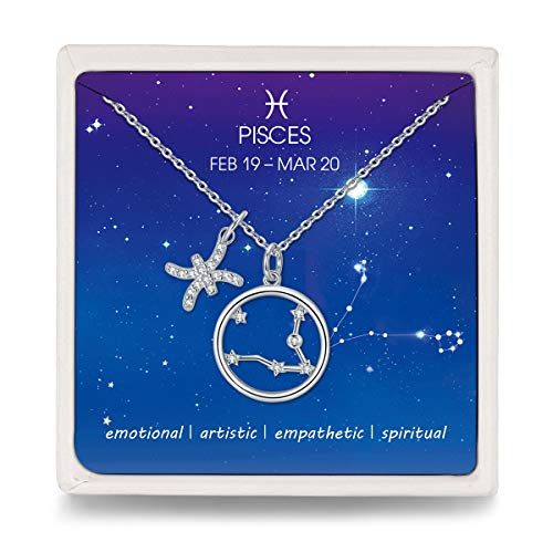 Qings 925 Silber Kette Damen Fische Sternzeichen Halskette mit Kreis Stern Zirkonia Anhänger, Modeschmuck Kette für Damen Frauen Mädchen, 44+3,5cm Lang
