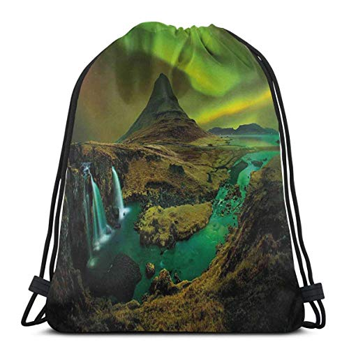 Odelia Palmer Printed Drawstring Backpacks Bags,Pale Weather Over The Hills With Waterfall Creek Nature Landscape,Adjustable String Closure