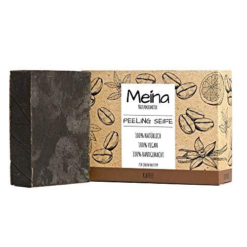 Meina Naturkosmetik - Bio Peeling Seife mit Kaffee, Naturseife ohne Palmöl, Vegan, Handgemacht (1 x 100 g)