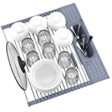 """Fixparts Roll Up Dish Drying Rack Over The Sink 17.5"""" x 15.2"""", SUS304 Multi-Purpose Rack Rollable Stainless Steel Dish Drainer with Utensil Holder for Kitchen Sink"""