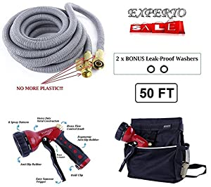 (50ft, Silver) EXPERTO Expanding Garden Hose 3 in 1 KIT
