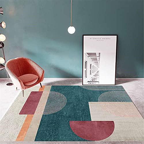 WCCCW Verde marrón Rojo Oscuro extracto geométrico Modelo de combinación de sofá Dormitorio Sala de Estar Dormitorio alojamiento alfombra-50x80cm para el salón fácil de Limpiar Igual Que la Foto