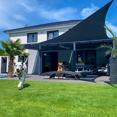 Toldoro Komplettset Dreieck Sonnensegel 4x4x4m regendicht anthrazit, 2 Wandhalter, Höhenverstellbarer Edelstahlmast und sämtlichen Spannmaterialien zum perfekten Sonnenschutz