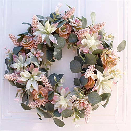 DJASM ZZWZM Artificial Wreath Door Trim Ornament Hanging Succulent Fake Flower Garland for Home Garden Christmas Wedding Decoration Floral