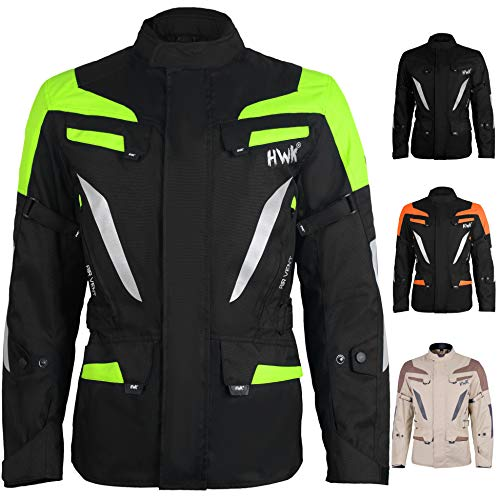 Adventure/Touring Men's Motorcycle Jacket Adv Dual Sport Racing CE Armored Waterproof Windproof Jackets All-Weather (Hi-Vis Green, 5XL)