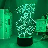 Luz nocturna 3D Anime LED para dormitorio infantil, decoración de Navidad, regalo de Navidad manga KonoSuba habitación escritorio lámpara 3D acrílico FDJHG