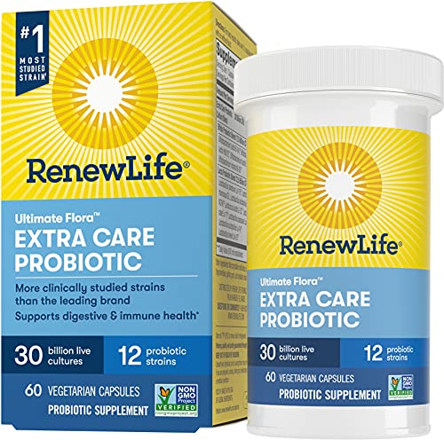 Renew Life Adult Probiotics 30 Billion CFU Guaranteed, 12 Strains, For Men & Women, Shelf Stable, Gluten Dairy & Soy Free, Ultimate Flora Extra Care, 60 Count, Pack of 1