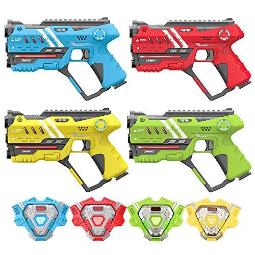 VATOS Lasertag - Infrarot Laserpistole Spiel mit Westen 4 Packung - Multifunktion Lasertag Spiel Set für Kinder, und Erwachsene Indoor Outdoor, Gruppe Spaß Geschenke für 6 Jahre+ Jungen Mädchen