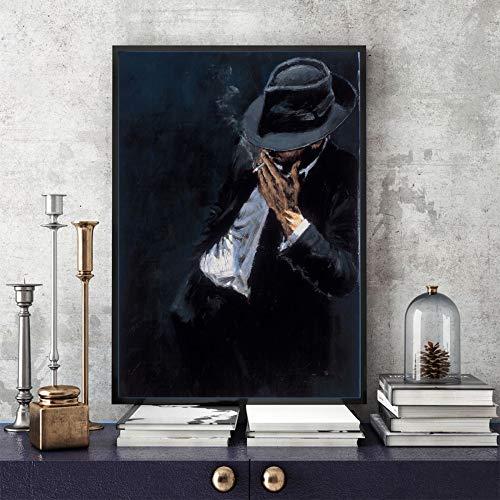 WSNDGWS Zwarte pak Man Wall Art Deco Olie Schilderen Thuis Decor Schilderen Geen Beeld Frame 20x30cm C1