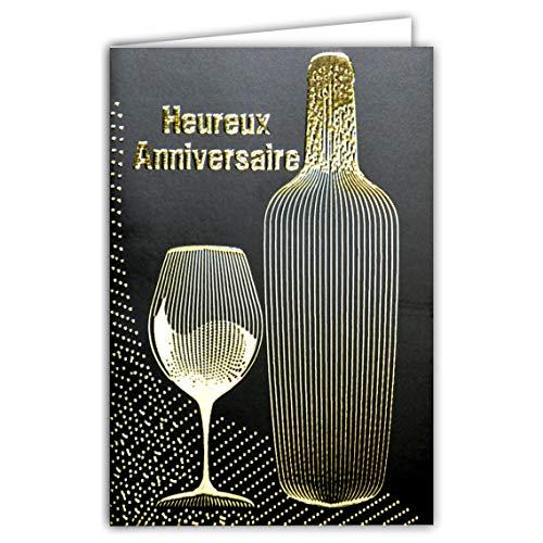 Wenskaart voor verjaardag, zwart en goud, wijnfles, rood/roze/wit, petillant bubbels, champagnefeest, glanzend, modieus