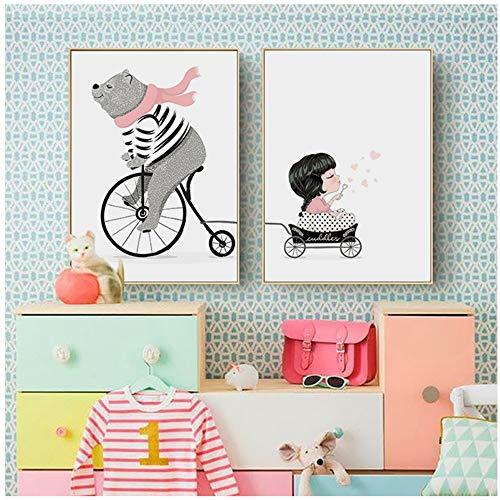 YANGMENGDAN Druck auf leinwand Cartoon Bär Und Mädchen Fahrrad Leinwand Malerei Bilder An Der Wand Poster Wandbilder Für Kinderzimmer Wohnkultur 40x50 cm x 2 STÜCKE Kein Rahmen