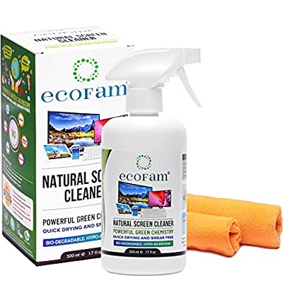 ecoFam Natural Screen Cleaner Spray with Two Premium Microfiber Cleaning Cloths. Best for LCD, LED, HDTV, Computer Monitors, TV, iPad, iPhone, Tablet, Smartphone, and Laptops (500ml)