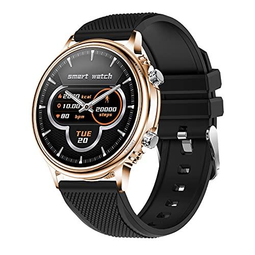 QFSLR Smartwatch Reloj Inteligente Deportivo con Monitor De Frecuencia Cardíaca Monitor De Presión Arterial Monitoreo De Oxígeno En Sangre Control De Música,Negro