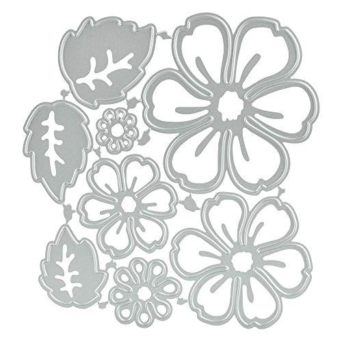 CODIRATO 8 Stück Metall Stanzformen Blumen Stanzschablonen Silber Schneiden Schablonen Prägeschablonen für DIY Scrapbooking Album, Schablonen Papier, Sammelalbum Deko