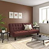 DHP Dexter Futon & Lounger, Convertible Sofa Bed & Couch, Berry Futon,
