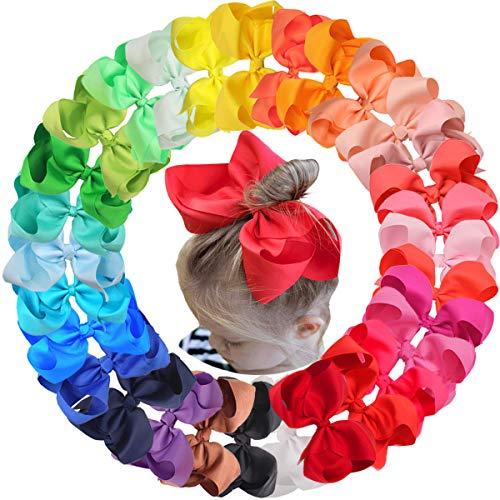 Joyoyo 30 lazos grandes para el pelo para niñas, 6 en grogrén lazos, lazos para el pelo con pinzas de cocodrilo, accesorios para el pelo para niñas pequeñas y niños pequeños