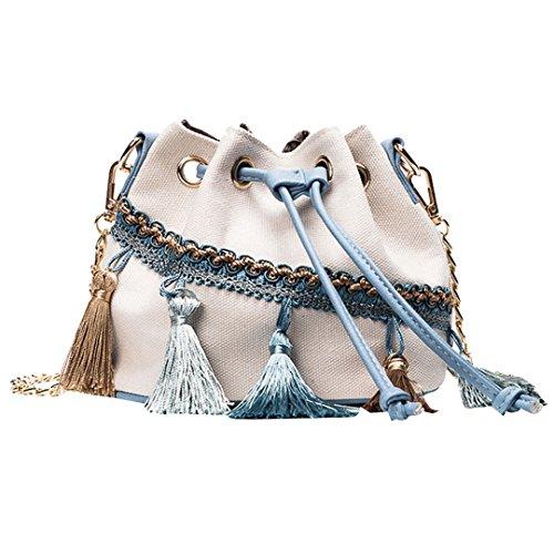 AiSi Damen mini Quaste Leder Handtasche/Beutel Tasche/Damenhandtasche/Schultertasche/Crossbody Bag/Umhängetaschen mit Umhängegurt Weiß