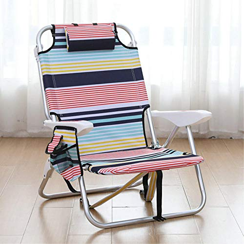 T-ZBDZ Liegestuhl Klappstuhl Fauler Schlaf Freizeit Multifunktions-Strandkorb Nach Hause Mittagspause Stuhl Einstellung Flach Legen-Roter Streifen