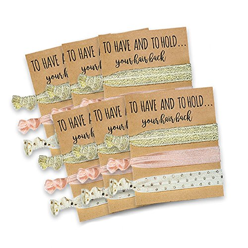 Pop Fizz Designs Bridesmaid Gifts Hair Tie Cards | Pink & Gold | Bachelorette Party Favors | Wedding Party Favors | Bridal Shower Favors (6 Pack)