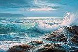 Xykhlj Pintura por números para Paisaje de Rocas de Las Olas del mar Pintura Regalo de cumpleaños Personalizado Sin Marco
