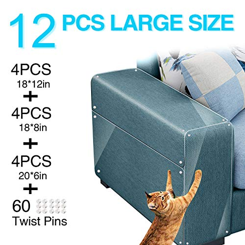 Maoyea Furniture Protectors from Cats 12 PCS Cat Scratch Deterrent Sheet Training Tape an-ti Pet Scratch for Leather Couch Furniture Protector (12 PCS for Fabric, Leather, etc.All Sofas)