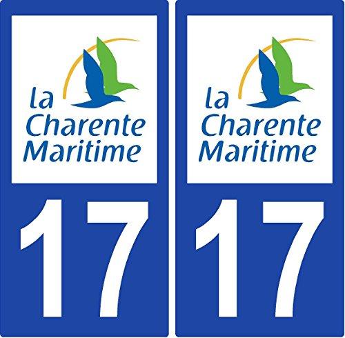 2 Autocollants plaque d'immatriculation auto 17 Charente-Maritime - Département
