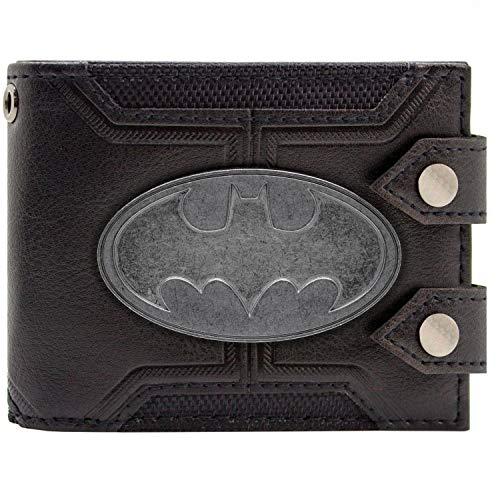 Cartera de DC Batman Insignia doble abotonado Negro