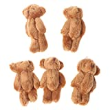 Cansenty Kawaii kleine Bären, Plüschtier, Perlensamt, Geschenke, Mini-Teddybär, 5 Stück braun