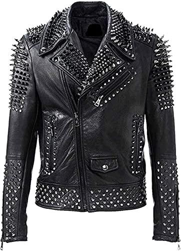 HiFacon - Giacca da motociclista da uomo, stile punk rock, con borchie, stile retrò, in pelle nera Nero - Giacca in pelle con borchie XL