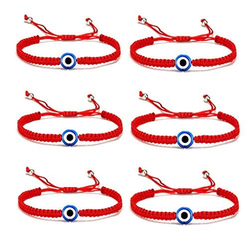 5-6 Pcs Evil Eye String Kabbalah Bracelets Hamsa Hand Hand-Woven Adjustable Red Rope Cord Thread Braided Bracelet Fatima Hand Ancient Friendship Charm Lucky Anklet for Women Girl Jewelry-1 eye