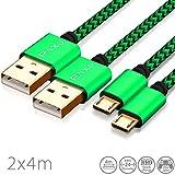 2 x 4m Câble Micro USB en Nylon de Charge et de données pour manettes PS4, Couleur...