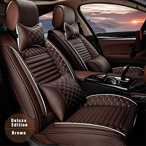 SureMart Car Seat Covers for Mercedes Benz EQC 400 4MATIC Front Car Seat Cover Leatherette Car Seat Protector Airbag Compatible 2Pcs Brown