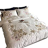 Cotton set ricamo lettiera del raso/letto bianco set / 4 pezzi, 2m