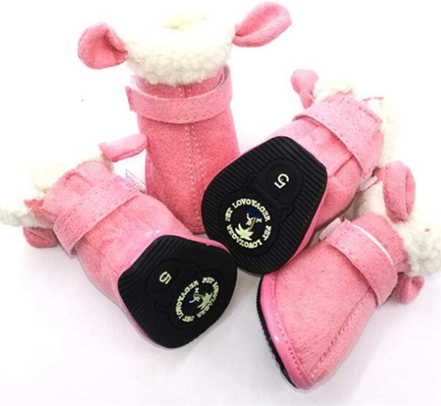 AOBRITON Pet shoes Thick Winter Warm Dog shoes for Small Dogs shoes Bone AntiSlip Snow Boots