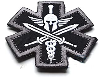 Spartan Medic EMT EMS Tactical Embroidery Patch Hook & Loop Morale Patch Military Patch for Clothing Accessory Backpack Ar...