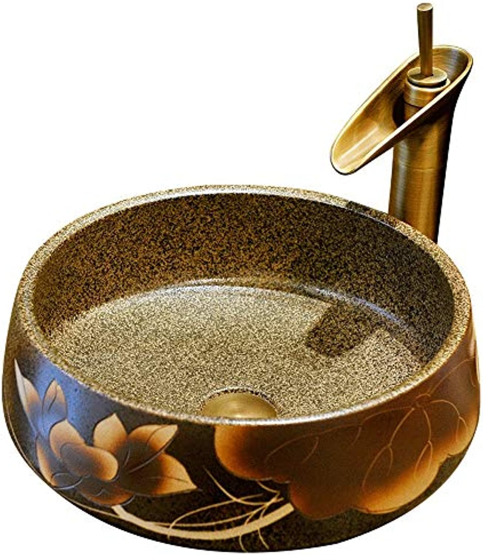 XDT Keramik Waschbecken Oval,Art Basin Keramik-Waschbecken Badezimmer-Waschbecken, 35x15 cm (ohne Den Hahn)