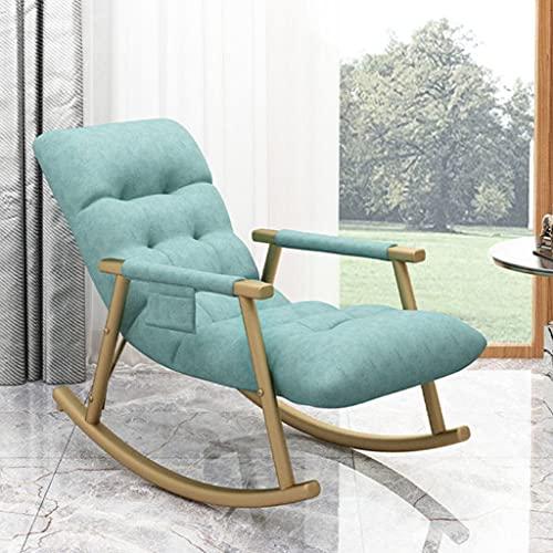 MMAXZ Mecedora nórdica para el hogar, reclinable Individual, Tumbona Informal, Tumbona para Sala de Estar, Dormitorio, balcón, Mecedora, sofá, Silla Perezosa (Color : Blue)