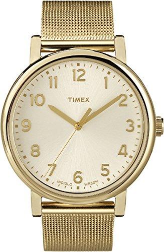 Timex T2N597D7 - Reloj de Cuarzo Unisex, Correa de Silicona, Color Oro