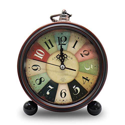 TOKINCEN Sveglia Stile Vintage Silenzioso Antico Silenzioso Orologio Antiscivolo Classico Orologio retrò Sveglia da Tavolo (Senza Batteria)