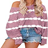 Tie-dye Striped Loose Long-Sleeved Round Neck Sweater Women's top Shirt T-Shirt