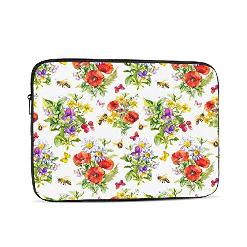 Laptop Case,10-17 Inch Laptop Sleeve Carrying Case Polyester Sleeve for Acer/Asus/Dell/Lenovo/MacBook Pro/HP/Samsung/Sony/Toshiba,Bouquets Of Meadow Flowers Firld Grasses Summer Butterflies Ho 12 inch