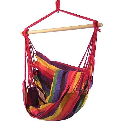 Boommersun - Amaca sospesa con 2 cuscini, girevole a 360°, fino a 120 kg, in cotone e legno duro, per amaca, altalena