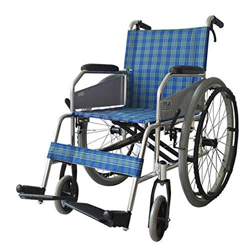 PAP rolstoel, inklapbaar, licht, voor medisch rijden, van aluminium, voor personen in de leeftijd van rolstoel, blauw A