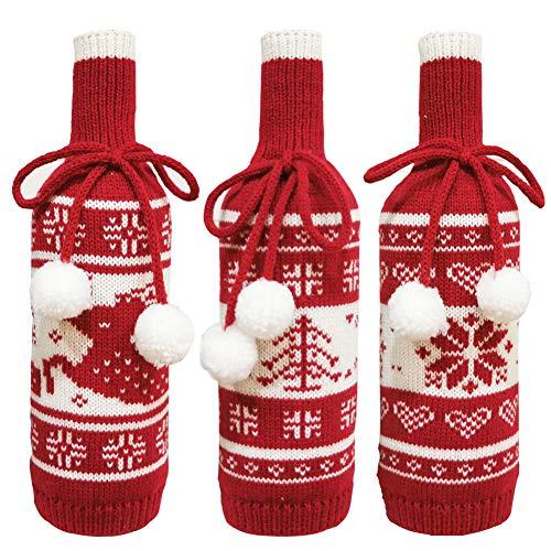 Weihnachten Weinflasche Abdeckung 3 Stücke geschenktüten flaschen Rotwein Taschen für Dress up Weinflasche Wiederverwendbare Wein Geschenk Taschen für Home Dinner Party Dekoration Tischdekoration