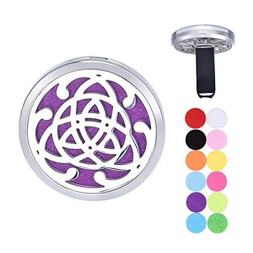 Tornado Celtic Knot Aromatherapy Car Air Freshener Stainless Steel Essential Oil Diffuser Locket Vent Clip 12 Refill Pads