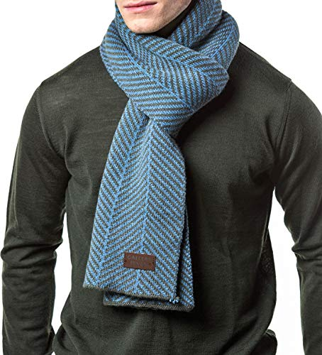 Gallery Seven Winter Scarf for Men, Soft Knit Scarves, in an Elegant Gift Box - Gray/Blue - One Size