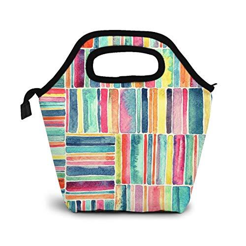 NiWCGP Retro Strandkorb Aquarell Lunch Tasche Isoliertasche Kühltasche Lunchtasche Thermische Lunch Tasche Mittagessen Tasche für Mädchen Kinder Mama