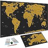 WIDETA Weltkarte zum Rubbeln XXL (82 x 43 cm)/ Bonus Karte von Europa, Rubbelwerkzeuge & Aufkleber